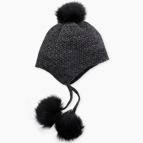 b948dd28a04 Ugg Women s Tri Pom Grey Cashmere Hat. NWT